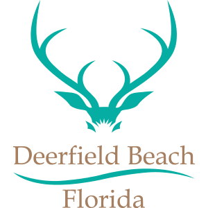 DFB City Logo with teal buck logo and tan text with Deerfield Beach, Florida.