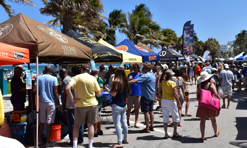 Ocean Brews and Blues Event with tents at beach